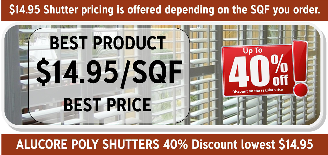 Gator Blinds Orlando - SHUTTERS SPECIAL $14.95/SQF, window blinds Orlando, roller shades Orlando